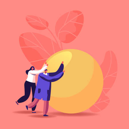 Easy Problem Solving Concept. Business People Characters Pushing Huge Ball. Teamwork Cooperation, Career Challenge, Motivation and Goal Achievement. Team Solve Heavy Task. Cartoon Vector Illustration Vettoriali