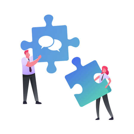 Office Characters Work Together Setting Up Separated Puzzle Pieces. Businesspeople Coworking or Outsourcing Teamwork Cooperation, Collective Work, Partnership. Cartoon People Vector Illustration Illusztráció