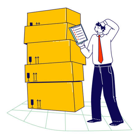 Inventory Manager Male Character Working in Warehouse with Stacks of Carton Boxes Checking List of Goods for Distribution. Logistic, Freight Accounting and Management. Linear Vector Illustration