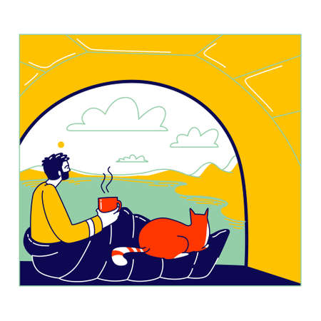 Man and Cat Characters Sitting inside of Camping Tent Enjoying Drinking Coffee and Scenic Landscape View. Tourist Travel with Pet, Hiking, Outdoor Relax, Summer Recreation. Linear Vector Illustration  イラスト・ベクター素材