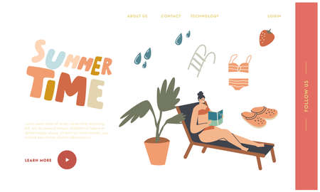 Reading Spare Time Landing Page Template. Woman in Bikini Sitting on Deck Chair at Pool or Beach Read Book. Female Character Spend Time Outdoors on Exotic Resort Enjoying. Linear Vector Illustration