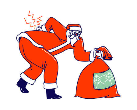 Sick Santa Claus Character with Gift Bag Wearing Red Costume and Hat Suffering of Radiculitis Disease. Christmas Personage Bent Over due to Sickness of Loins Back and Spine. Linear Vector Illustration