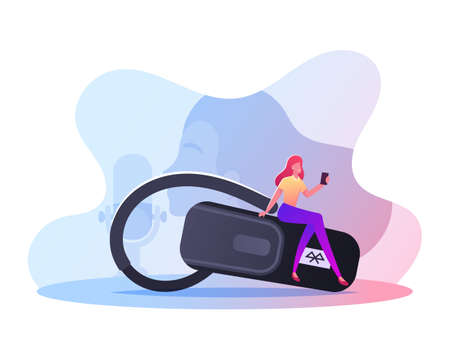 Tiny Female Character with Cellphone in Hand Sitting on Huge Headset for Mobile Phone Communication. Voice Recognition, Smart Technologies, Mobile Phone Device Application. Cartoon Vector Illustration