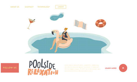 Relax in Swimming Pool Landing Page Template. Young Woman Character Floating on Flamingo Inflatable Ring Mattress Enjoying Summer Time Vacation Drinking Cocktail and Tan. Linear Vector Illustration Banco de Imagens - 150819235