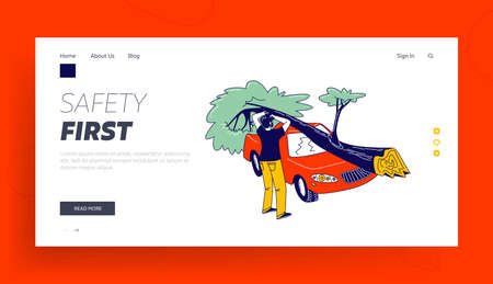 Cataclysm Disaster Landing Page Template. Male Character Stand at Broken Car with Fallen Tree Got into Tornado. Nature Destruction Power, Dangerous Weather, Strong Wind. Linear Vector Illustration