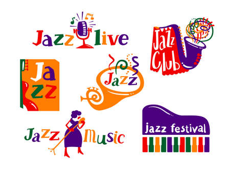 Jazz Festival Cartoon Icons Set. Live Music Concert Announcement, Creative Labels and Typography for Musical Club. Woman Singer with Microphone, Flyer, Saxophone or Piano Keyboard. Vector Illustration