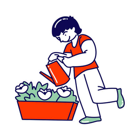 Child Helper Watering Home Plant in Flowerpot from Watering Can. Gardening Hobby, Boy Character Care of Domestic Flower in Pot at Home or Greenhouse Help to Parents, Chores. Linear Vector Illustration