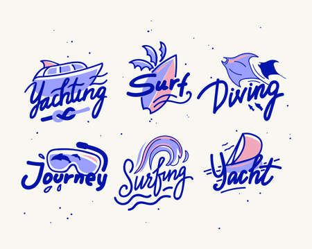 Set of Banners or Icons for Summer Water Fun Yachting, Surfing and Diving with Lettering and Doodle Drawing Elements Yacht, Snorkel Mask, Surf Board and Ramp Fish in Ocean. Cartoon Vector Illustration Ilustração