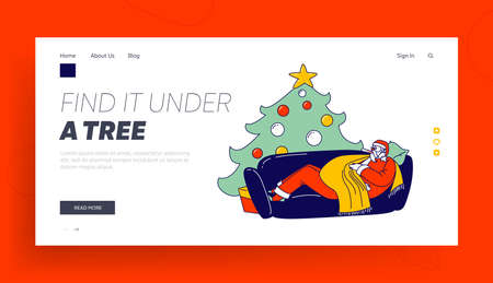 Xmas Character Suffering of Disease Landing Page Template. Sick Santa Claus with Thermometer in Mouth Have Fever Lying on Couch near Fir Tree. Christmas Personage Sickness. Linear Vector Illustration