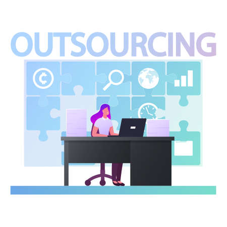 Outsourcing Concept. Business Woman Character Working in Office Sitting at Desk with Laptop at Huge Puzzle Hang on Wall. Company Use Professional Outsourced Employees. Cartoon Vector Illustration
