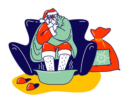 Sick Santa Claus Sore Feet Sitting on Couch Wrapped in Plaid. Christmas Character Wearing Red Costume and Hat Suffering of Flu or Covid19 Disease. Xmas Personage Sickness, Linear Vector Illustration Ilustração