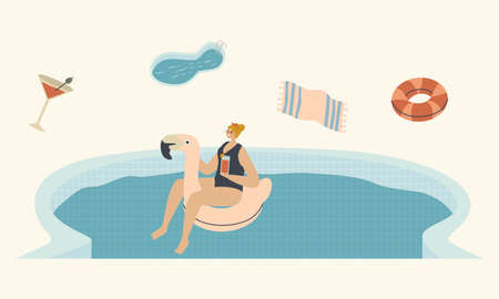 Young Woman Character Floating on Flamingo Inflatable Ring Mattress Enjoying Summer Time Vacation Drinking Cocktail and Get Tan. Resort or Hotel Relax in Swimming Pool. Linear Vector Illustration