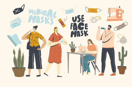 Characters Sewing Medical Masks at Home for Wearing Outdoors during Coronavirus Pandemic. Home Made Diy Protective Mask Creation against Covid19 Virus Epidemic. Linear People Vector Illustration Banco de Imagens - 150825546