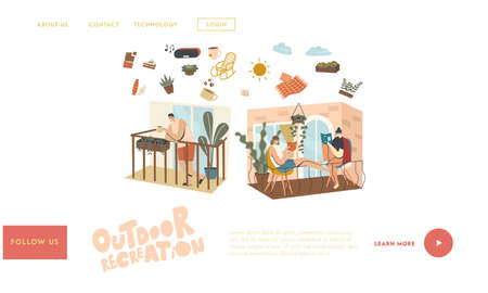 People Relaxing and Spend Time on Balconies Landing Page Template. Characters Stay Home During Isolation. Neighbors in their Apartments Spend Time Reading, Drinking Coffee. Linear Vector Illustration