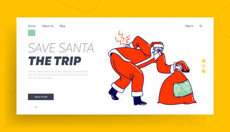 Sick Santa Suffering of Radiculitis Landing Page Template. Claus Character with Gift Bag Wearing Red Costume and Hat Bent Over due to Sickness of Loins Back and Spine. Linear Vector Illustration Banco de Imagens - 150825553