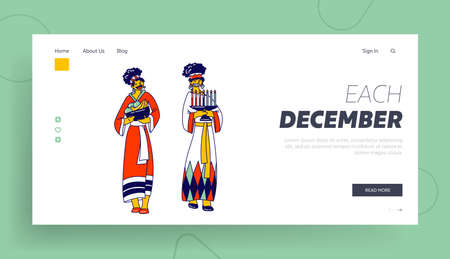 Kwanzaa Holiday Celebration Landing Page Template. African Tribal Female Characters in Traditional Clothes, Candles and Fruits. People of Africa Ethnic Culture and Heritage. Linear Vector Illustration Ilustrace