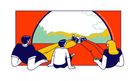 Family Characters inside of Camping Tent Enjoying Drinking Coffee and Scenic Landscape View. Tourists Traveling with Kid, Hiking, Outdoor Relax, Summer Recreation. Linear People Vector Illustration