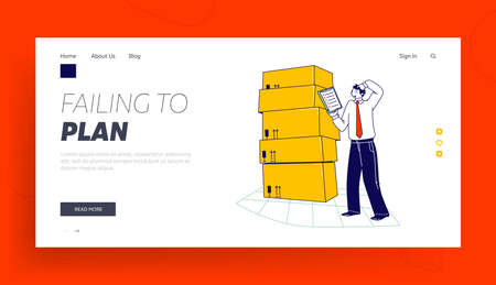 Inventory Landing Page Template. Manager Male Character Working in Warehouse with Boxes Checking List of Goods for Distribution. Logistic, Freight Accounting and Management. Linear Vector Illustration Ilustração