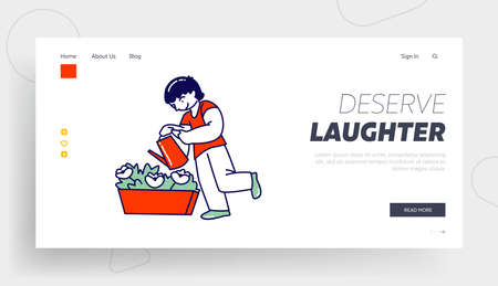 Child Watering Home Plant in Flowerpot Landing Page Template. Gardening Hobby, Boy Character Care of Domestic Flower in Pot at Home or Greenhouse Help to Parents, Chores. Linear Vector Illustration