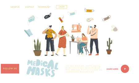Home Made Diy Protective Mask Creation Landing Page Template. Characters Sewing and Wearing Medical Masks during Coronavirus Pandemic against Covid19 Virus Spreading. Linear People Vector Illustration