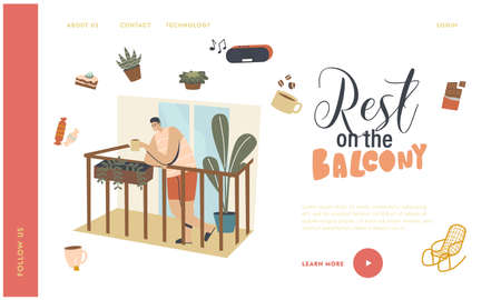 Weekend Relax Landing Page Template. Male Character Stand on House Balcony Drinking Coffee at Covid19 Quarantine. Virus Spreading Prevention, Outbreak, Epidemic. Linear People Vector Illustration