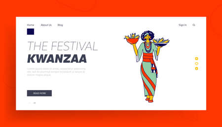 Kwanzaa Holiday Celebration Landing Page Template. Culture of Africa and Ethnic Heritage, African Tribal Female Character Holding Bowls with Corn, Cultural Tradition. Linear Vector Illustration