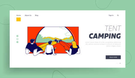 Summer Recreation Landing Page Template. Family Characters inside of Camping Tent Enjoying Scenic Landscape View. Tourists Traveling with Kid, Hiking, Outdoor Relax. Linear People Vector Illustration Ilustração