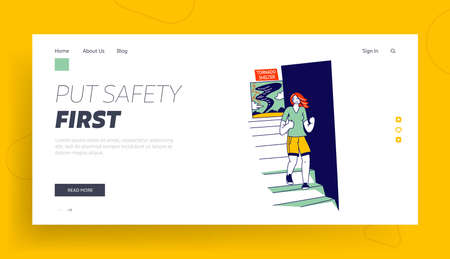 Female Character Hiding in Tornado Shelter Landing Page Template. Woman Got into Windbreak. Nature Destruction Power, Place for Waiting Dangerous Strong Wind Cataclysm Over. Linear Vector Illustration Ilustração