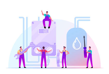 Handy Men Characters Install or Fix Smart Heater at Home or Office. Husband for an Hour, Repair Service, Fixing Broken Technics. Electrician Call Master at Work. Cartoon People Vector Illustration 일러스트