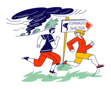Male and Female Characters Got into Tornado Windbreak. People Escape Nature Destruction Power Running to Shelter for Saving Life at Dangerous Weather, Twister Strong Wind. Linear Vector Illustration Banco de Imagens - 150825803