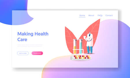 Pharmacy, Hospital Healthcare Landing Page Template. Male Doctor Pharmacist in Medical Robe and Mask Writing at Huge Flasks and Pills. Medicine Tablets Producing Industry. Cartoon Vector Illustration