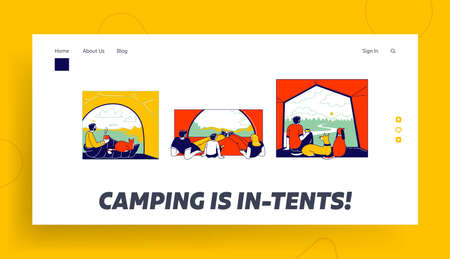 Tent View Landing Page Template. Tourists Characters Family with Child and Man with Pets Sit inside of Camping Tent Looking on Beautiful Picturesque Nature Landscape. Linear People Vector Illustration Ilustração