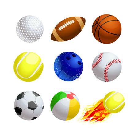 Set of Cartoon Balls for Sport and Leisure. Golf, Rugby and Basketball with Tennis and Bowling. Baseball, Soccer or Football, for Kids Games on Beach and Burning Ball with Fire. Vector Illustration