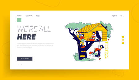 Children Characters on Tree House Landing Page Template. Little Girls and Boys Playing on Treehouse with Wooden Ladder and Tire Swing, Place for Kids Summer Games. Linear People Vector Illustration