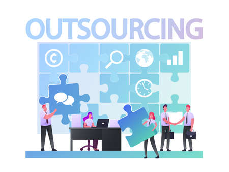 Outsourcing Concept. Businesspeople Working at Huge Puzzle Put Pieces into empty Holes. Business men Characters Shaking Hands. Company Use Outsourced Employees. Cartoon People Vector Illustration