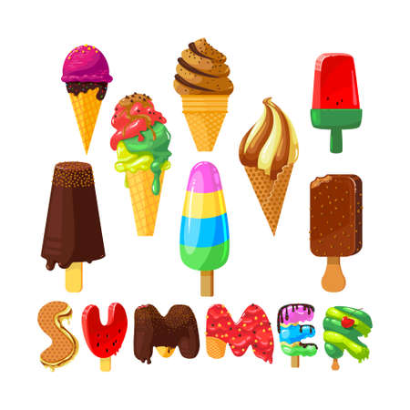 Set of Cartoon Ice Cream and Creative Typography Isolated on White Background. Summer Sweet Food, Chocolate on Stick, Fruit Frozen and Dairy Ice Cream with Topping. Vector Illustration, Icons