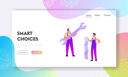 Repair Service Call Master Landing Page Template. Tiny Men Characters in Overalls Holding Huge Wrench and Paper Sheet. Handymen Fixing Broken Technics at Home. Cartoon People Vector Illustration Ilustração
