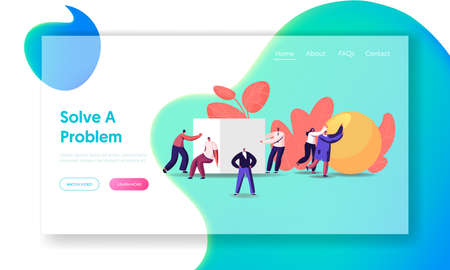 Easy Problems Solving Landing Page Template. Tiny Business People Push Huge Geometric Shapes Ball and Cube. Characters Fight in Business Competition, Challenge, Leadership. Cartoon Vector Illustration