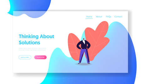 Leader Demonstrate Power Landing Page Template. Easy Problem Solving. Self Confident Male Character Stand with Arms Akimbo. Professional Specialist, Business Man Winner. Cartoon Vector Illustration