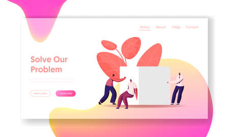 Career Challenge Landing Page Template. Business Team Push Huge Cube Solving Problem or Working Task. Characters Teamwork Cooperation, Motivation, Goal Achievement. Cartoon People Vector Illustration