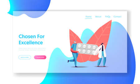 Health Care and Medicine Drugs Industry Landing Page Template. Tiny Pharmacist Characters Carry Huge Medication Blister in Pharmacy or Drugstore. Remedy Production. Cartoon People Vector Illustration Ilustração