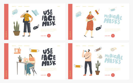 Home Made Protective Mask Creation Landing Page Template Set. Characters Sewing and Wearing Medical Masks during Coronavirus Pandemic against Covid19 Virus Spreading. Linear People Vector Illustration Banco de Imagens - 150825832