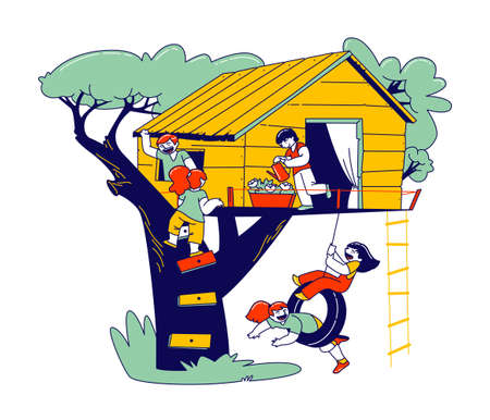 Children Characters on Tree House, Little Girls and Boys Playing on Child Playground, Treehouse with Wooden Ladder and Tire Swing, Place for Kids Summer Games. Linear People Vector Illustration