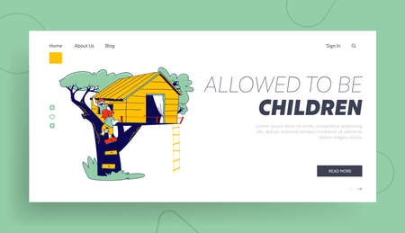 Children Climbing on Tree House Landing Page Template. Characters Playing on Child Playground, Treehouse with Wood and Rope Ladders, Place for Kids Summer Games. Linear People Vector Illustration