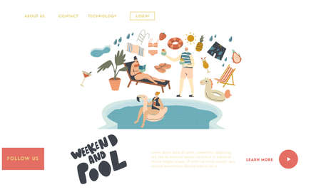 Pool Party Relax, Swim and Drink Summer Activity Landing Page Template. Characters in Swimming Pool Drinking Cocktails, Reading Book and Floating Inflatable Ring. Linear People Vector Illustration
