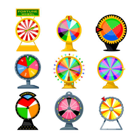 Set of Cartoon Fortune Wheels, Equipment for Lottery Raffle and Gambling Games Isolated on White Background. Colorful Roulette with Numbers and Lights, Risky Attraction. Vector Illustration, Icons Ilustração