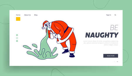 Sick Santa Claus Puke Landing Page Template. Suffering of Food Poisoning or Alcohol Intoxication. Xmas Character Stomach Disease. Christmas Personage Sickness, Illness. Linear Vector Illustration