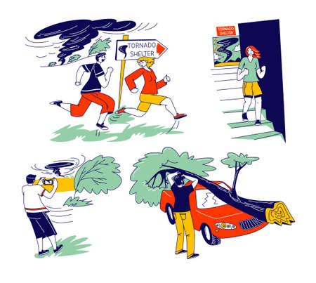 Characters Hiding from Tornado in Shelter. Tree Fall Down and Broke Car, Man Make Picture, Tropical Thunderstorm with Extremely Blowing Wind, Meteorology Forecast. Linear People Vector Illustration Ilustração