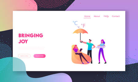 Smart Home Assistance Landing Page Template. Female Character Sit in Armchair with Book in Hands. Man Cover Girl with Umbrella, Woman Bringing Tray with Dinner. Cartoon People Vector Illustration