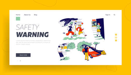 Characters Hiding from Tornado in Shelter Landing Page Template. Tree Fall on Car, Man Make Picture, Thunderstorm with Extremely Blowing Wind, Meteorology Forecast. Linear People Vector Illustration Ilustração